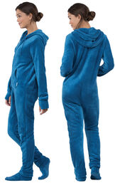 Model wearing Hoodie-Footie - Blue Fleece for Women, facing away from the camera and then to the side image number 1