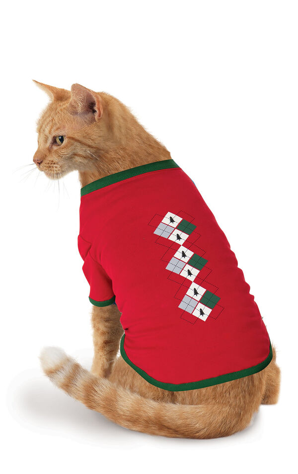 Holiday Argyle Cat Pajamas image number 1