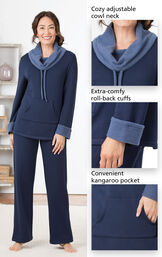 Close-Ups of Navy World's Softest PJs features which include a cozy adjustable cowl neck, extra-comfy, roll-back cuffs and a convenient kangaroo pocket. image number 3