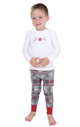 Model wearing Red and Gray Fair Isle PJ for Toddlers