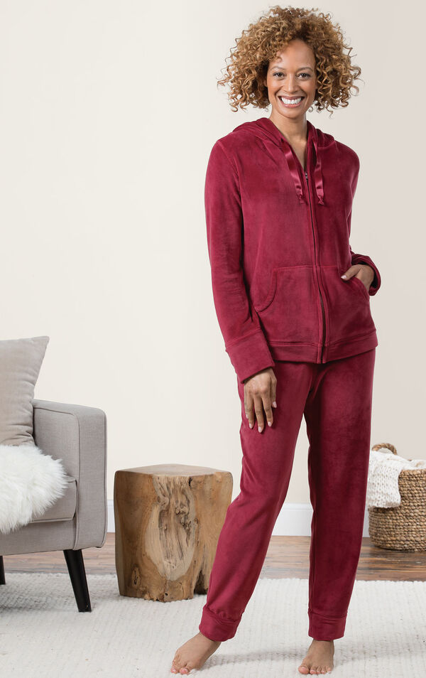 Tempting Touch Zip-Front Hoodie Pajamas - Red image number 2