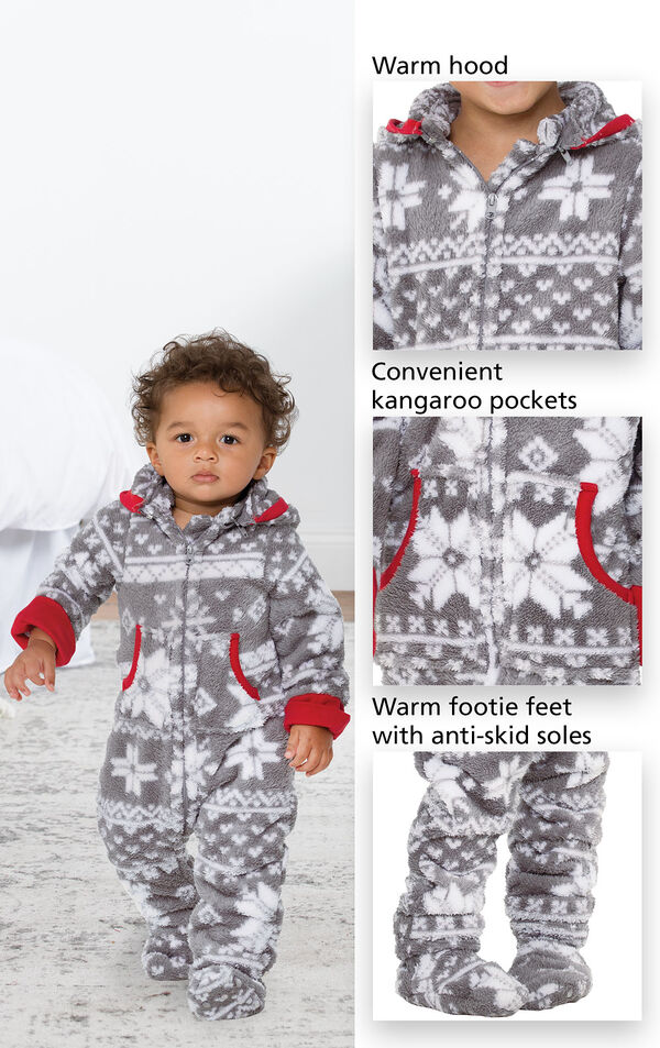 Close-ups of Nordic Hoodie-Footie's features which include a warm hood, convenient kangaroo pockets and warm footie feet with anti-skid soles image number 2