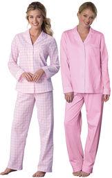 Pink Heart2Heart Gingham Boyfriend PJs and Classic Polka-Dot Boyfriend PJs image number 0