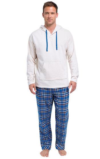 Navy Plaid Hooded Men's Pajamas