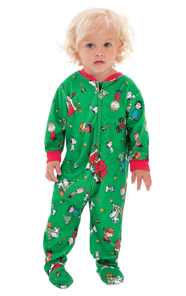 Model wearing Green Charlie Brown Christmas PJ for Infants image number 0
