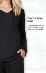 Fun Feminine Style - A flared hem and tie neck create a lovely look and relaxed fit image number 3