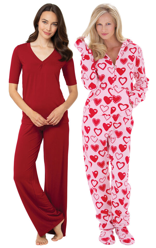 Red Naturally Nude PJs and Sweetheart Hoodie-Footie image number 0