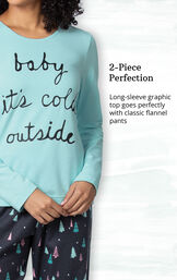 Long-sleeve graphic top goes perfectly with classic flannel pants image number 3