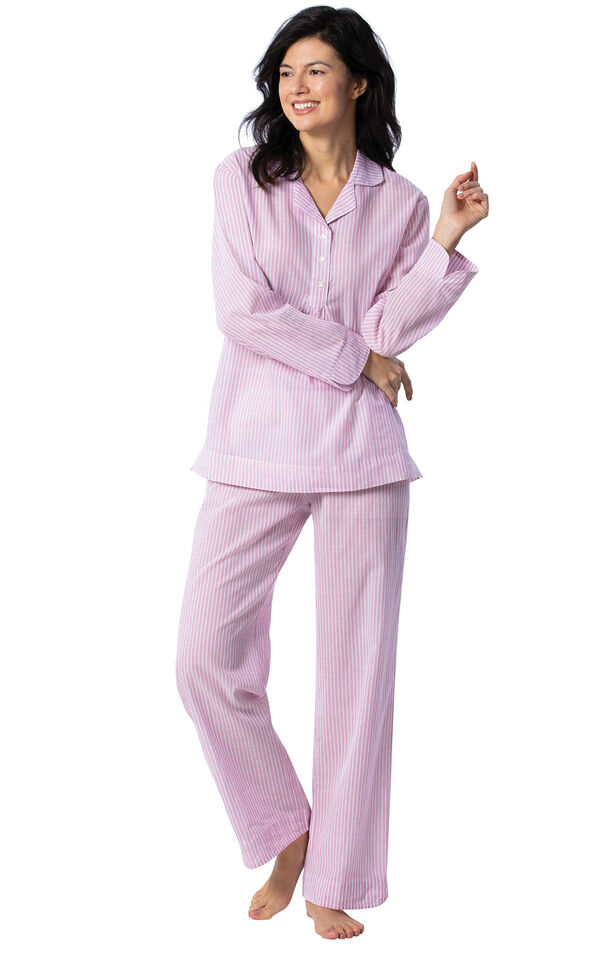 Mauve and White Stripe PJ for Women image number 0
