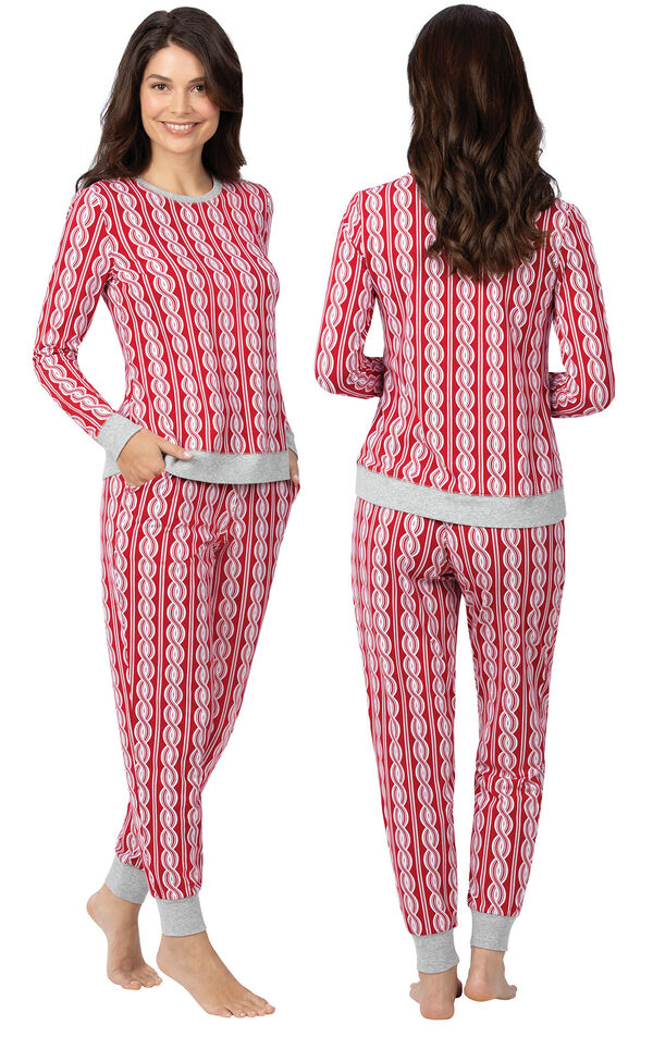 Model wearing Red and White Peppermint Twist PJ for Women, facing away from the camera and then to the side image number 1