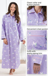 Close-up of Purrfect Flannel Nighty - Purple Details which include a classic collar and button placket, convenient chest pocket and cuffs with pretty piping trim image number 3