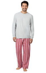 Model wearing Red and White Peppermint Twist PJ for Men
