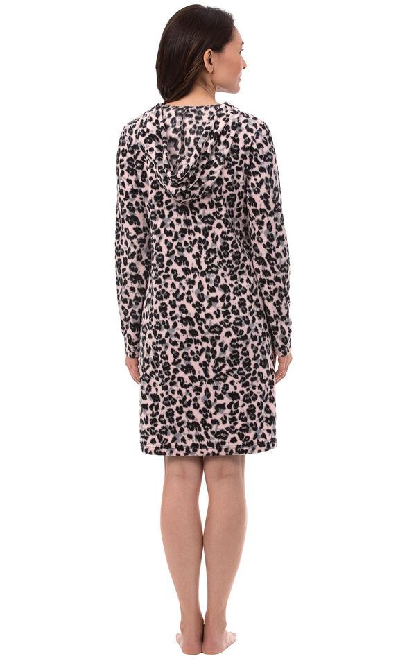 Model wearing Pink Black Leopard Print Sleepshirt - Hood for Women, facing away from the camera image number 1