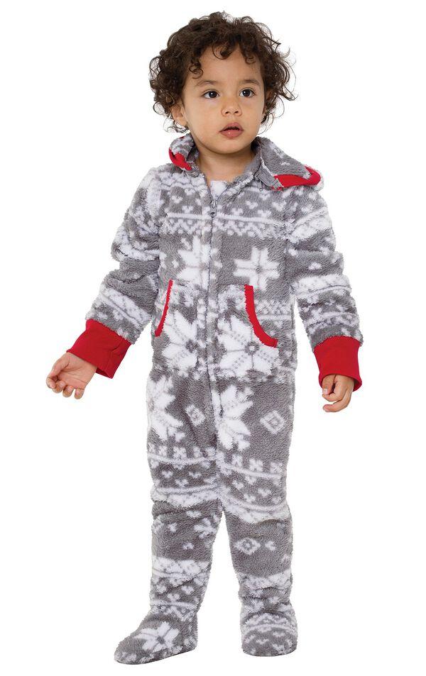 Model wearing Hoodie-Footie - Gray Fair Isle Fleece for Toddlers image number 0