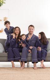 Classic Polka-Dot Women's Pajamas - Navy image number 1