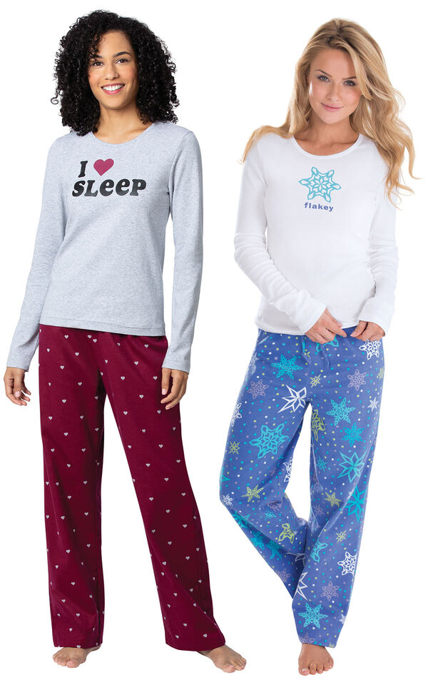 Addison Meadow|PajamaGram Flakey and Hearts Flannel PJs image number 0