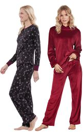 Models wearing Wine Down Pajamas and Tempting Touch PJs - Garnet.