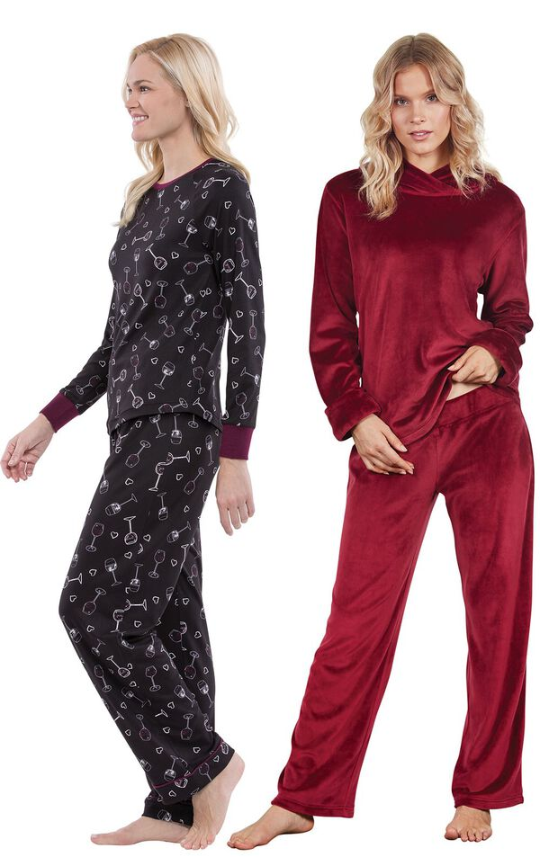 Models wearing Wine Down Pajamas and Tempting Touch PJs - Garnet. image number 0