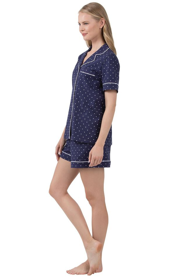 Model wearing Navy Classic Polka-Dot Shorts Set, facing to the side image number 1