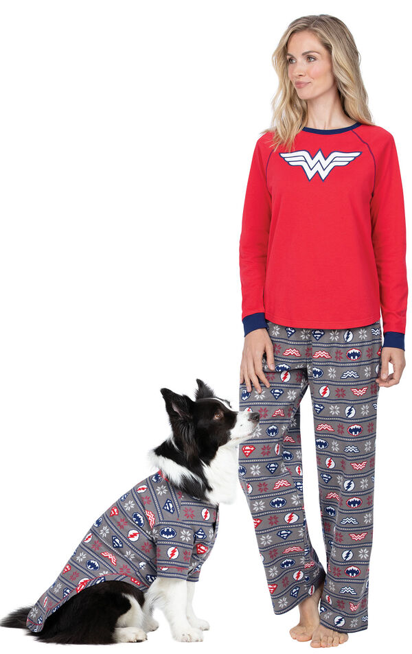 Models wearing Red and Blue Justice League Pajamas for Pets and Owners image number 0