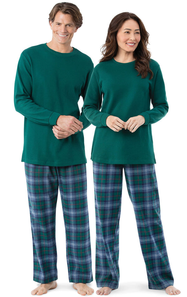 Models wearing Green and Blue Plaid Matching Pajamas for Him and Her image number 0