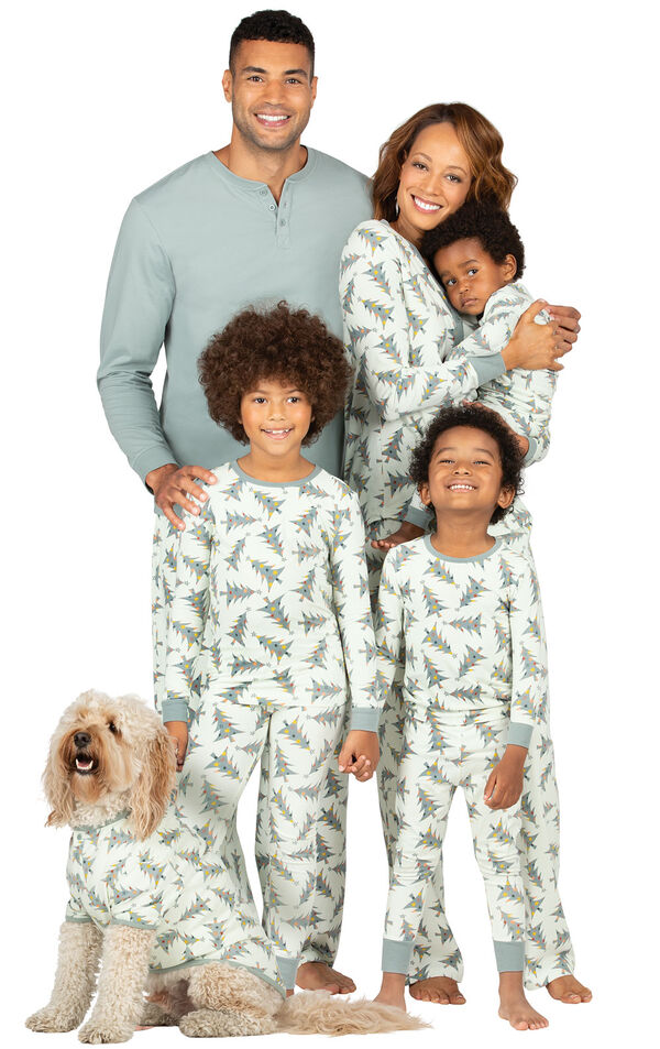 Models wearing Green Balsam and Pine Tree Matching Family Pajamas image number 0
