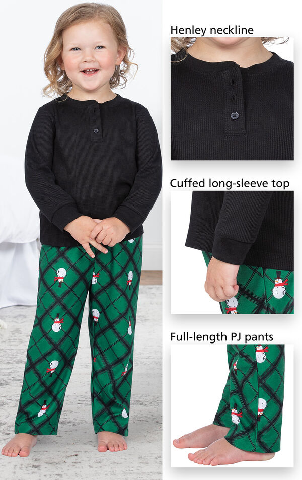 Black and Green Snowman Argyle Henley PJ for Toddlers have a Henley neckline, cuffed long-sleeve top, full-length PJ pants image number 3