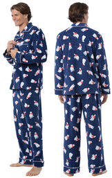 Model wearing Navy Polar Bear Fleece Button-Front PJ for Men, facing away from the camera and then to the side image number 1