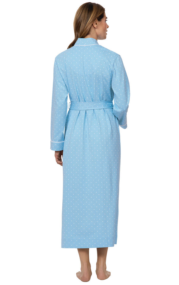 Model wearing Blue with White Polka Dot Wrap Robe for Women, facing away from the camera image number 1