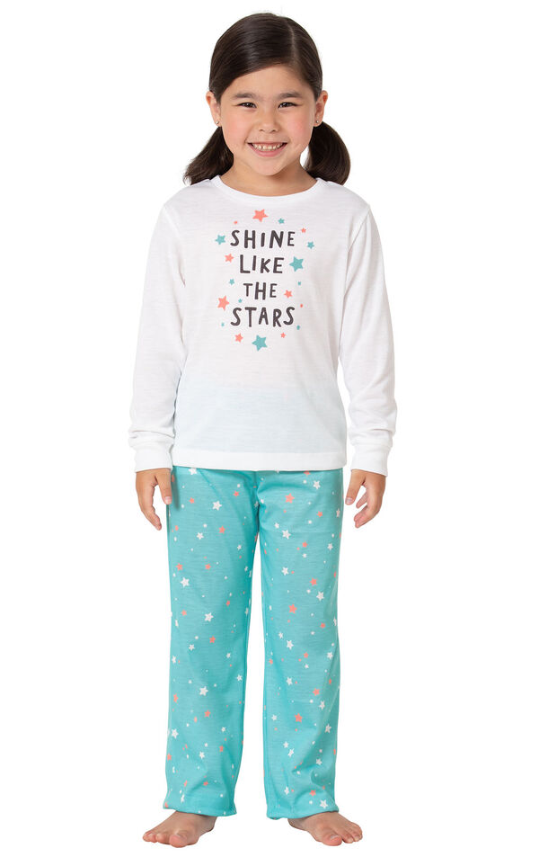 Model wearing Aqua Stars PJ with Graphic Tee for Youth image number 0