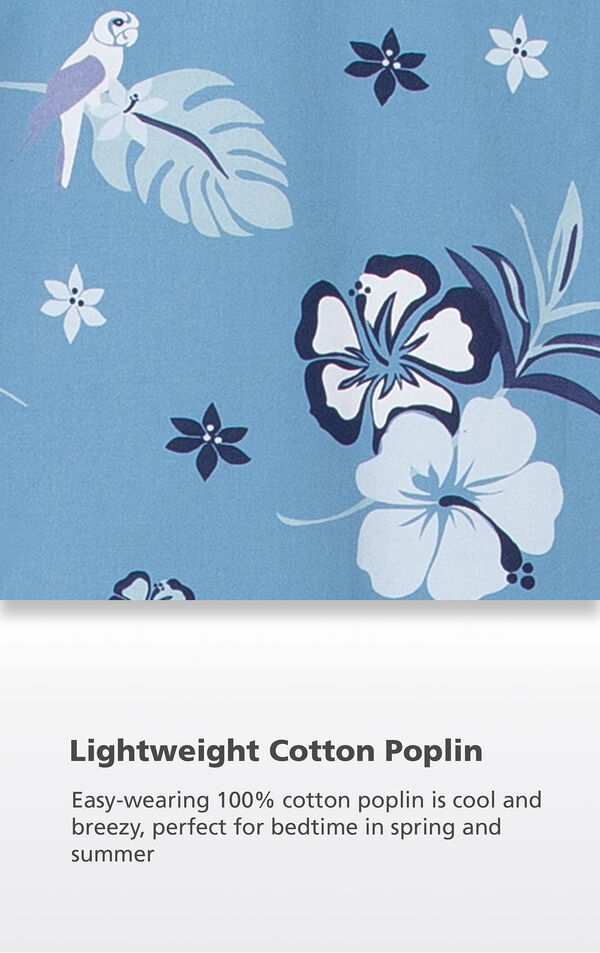 Blue Hibiscus fabric swatch with the following copy: Easy-wearing 100% cotton poplin is cool and breezy, perfect for bedtime in spring and summer image number 4
