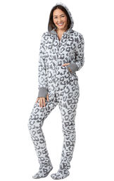 Model wearing Hoodie-Footie - Embossed Leopard Fleece for Women image number 0