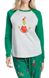 Close up of Dr. Seuss The Grinch Women's Pajamas image number 3