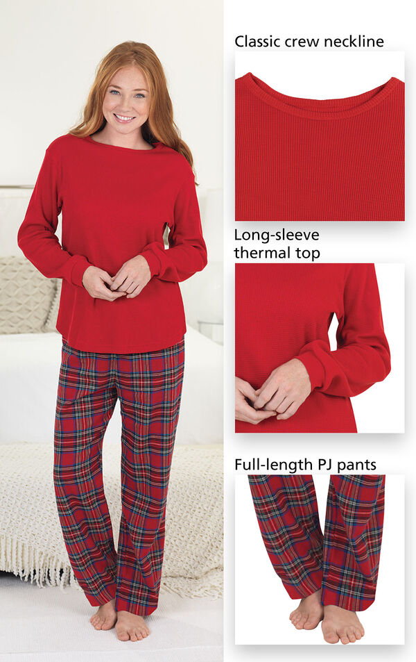 Close-ups of Stewart Plaid Thermal-Top Pajamas which include a classic crew neckline, long-sleeve thermal top and full-length PJ pants image number 5