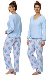 Model wearing Blue and Pink Argyle PJ for Women, facing away from the camera and then to the side image number 1