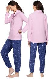 Model wearing Blue Stars - Pink Top Fleece Jogger PJ for Women, facing away from the camera and then to the side image number 1