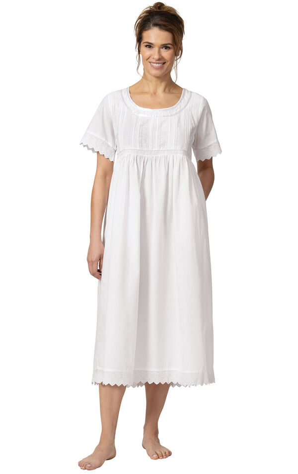 Model wearing Helena Nightgown in White for Women image number 3