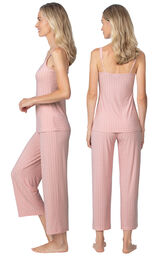 Model wearing Pink Stretch Knit Geo Print Cami Crop Pant PJ for Women, facing away from the camera and then to the side image number 1