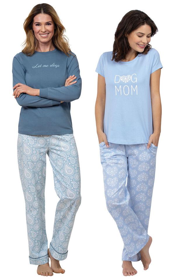 "Models wearing ""Let Me Sleep"" Pajamas and Dog Mom Pajamas image number 0"