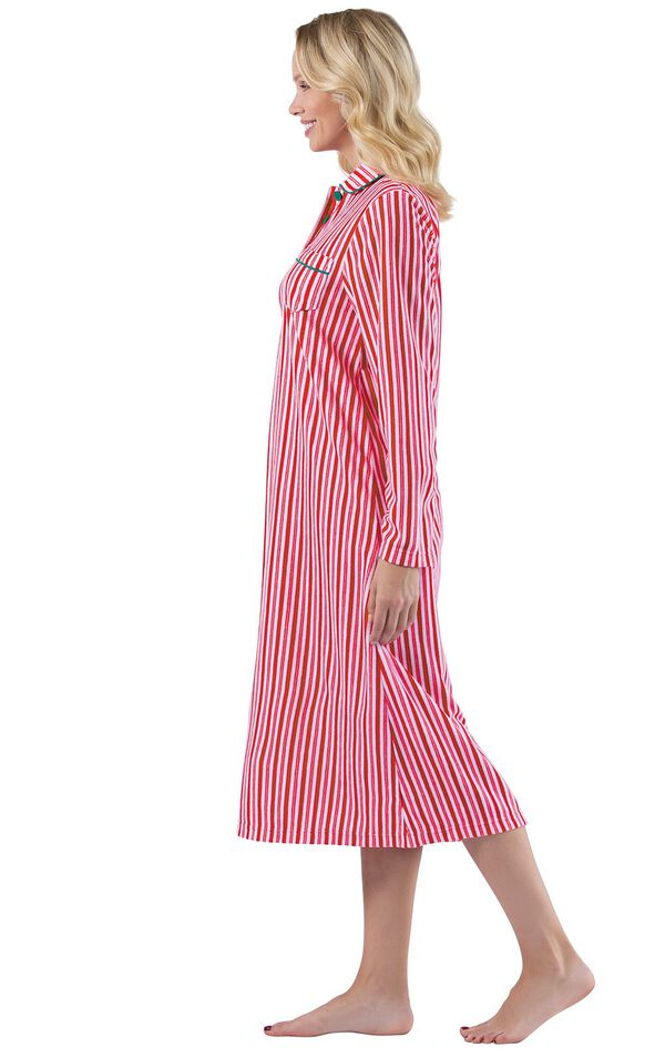Model wearing Candy Cane Stripe Fleece Gown for Women, facing to the side image number 2