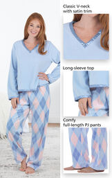 Close-ups of the features of Snuggle Fleece Argyle Pajamas which include a classic V-neck with satin trim, long-sleeve top and comfy full-length PJ pants image number 3