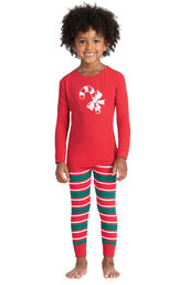 Model wearing Red and Green Christmas Stripe PJ for Toddlers