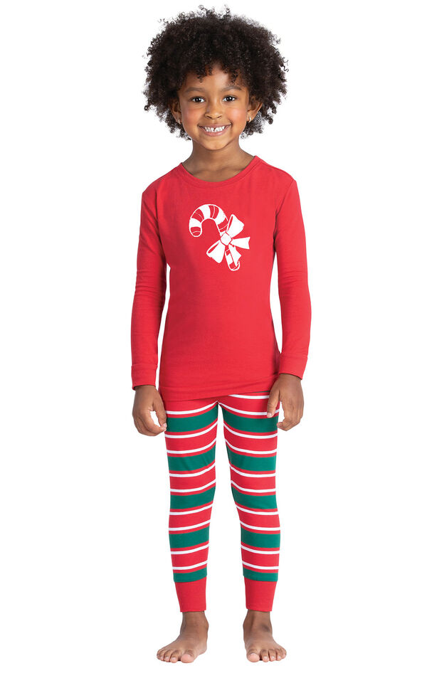 Model wearing Red and Green Christmas Stripe PJ for Toddlers image number 0