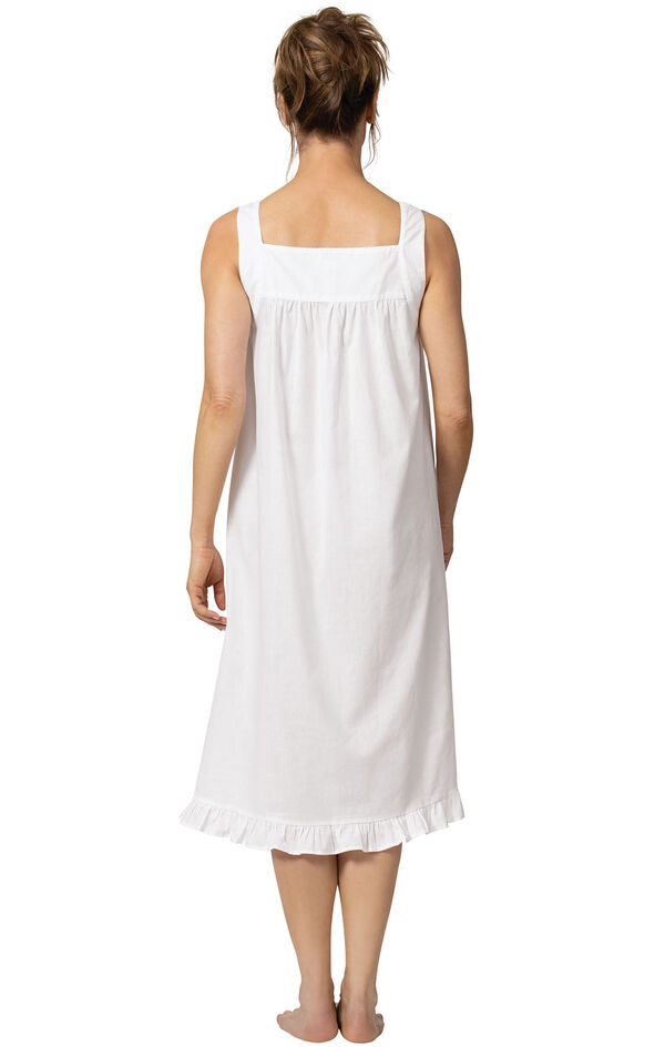 Model wearing Nancy Nightgown in White for Women, facing away from the camera image number 1