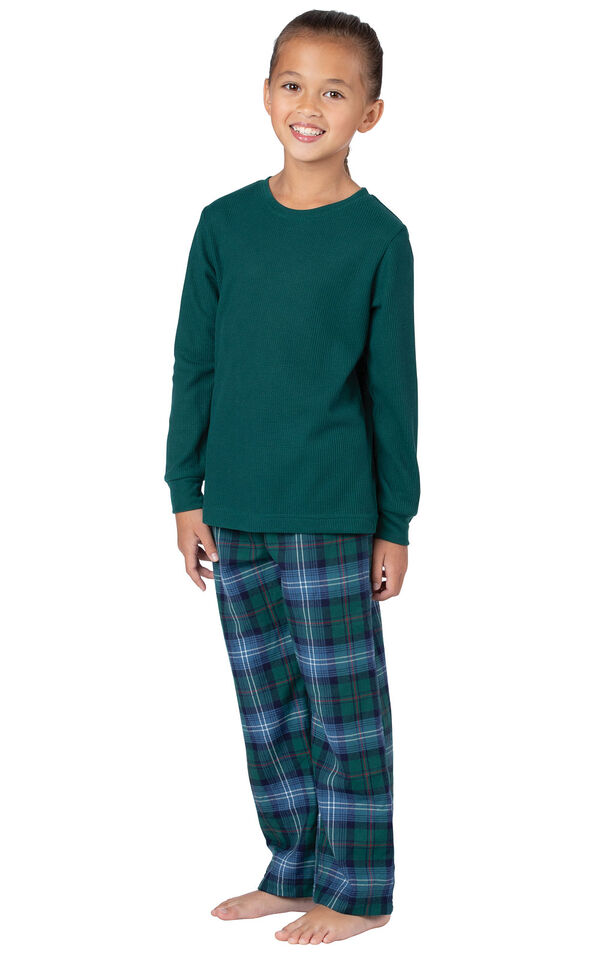 Model wearing Green and Blue Plaid Thermal-Top PJ for Girls image number 0