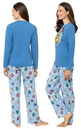 Model wearing Light Blue Greateful Dead Women's Pajamas, facing away from the camera and then facing to the side image number 1