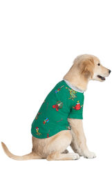 Model wearing Green and Gray Grinch PJ - Pet