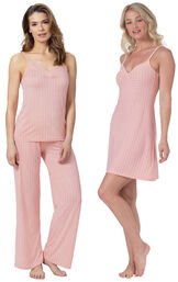 Pink Naturally Nude Cami PJs and Chemise image number 0