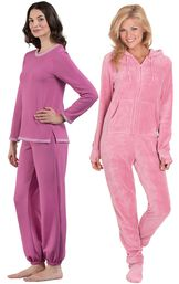 Models wearing World's Softest Jogger Pajamas - Raspberry and Hoodie-Footie - Pink.