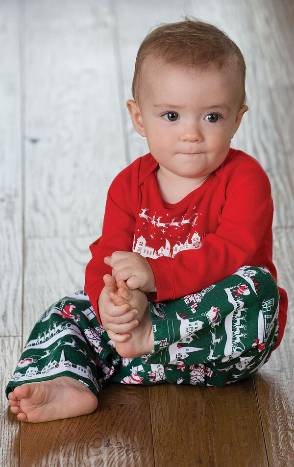Infant sitting down wearing Red and Green The Night Before Christmas Infant Pajamas image number 1